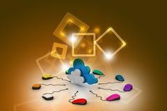 Souris d'ordinateur reliée à un nuage Photographie stock libre de droits