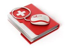 Souris d'ordinateur se tenant sur le dossier médical illustration stock