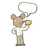 souris de bande dessinée tenant le fromage avec la bulle de la parole Photographie stock libre de droits