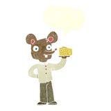 souris de bande dessinée tenant le fromage avec la bulle de la parole Photographie stock