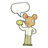 souris de bande dessinée tenant le fromage avec la bulle de la parole Photos libres de droits