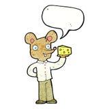 souris de bande dessinée tenant le fromage avec la bulle de la parole Photos stock