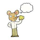 souris de bande dessinée tenant le fromage avec la bulle de pensée Photographie stock