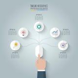 Souris de clic de main d'affaires avec options infographic de chronologie des 5 illustration stock