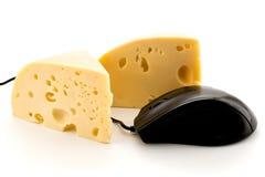 Souris de fromage et d'ordinateur sur le blanc Photographie stock libre de droits