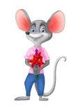 Souris de garçon avec des fleurs le jour du ` s de Valentine Illustration Libre de Droits