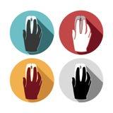 Souris de main réglée par icônes plates Photo libre de droits