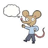 souris de ondulation de bande dessinée avec la bulle de pensée Photo libre de droits