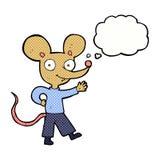 souris de ondulation de bande dessinée avec la bulle de pensée Images stock