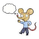 souris de ondulation de bande dessinée avec la bulle de pensée Photographie stock libre de droits
