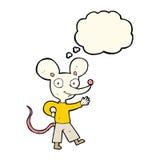 souris de ondulation de bande dessinée avec la bulle de pensée Photo stock