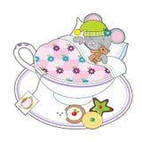 Souris de tasse de thé Images libres de droits