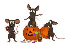 Souris drôle de bande dessinée célébrant Halloween Images stock