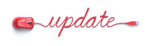 Souris et câble rouges sous forme de mot de mise à jour Photographie stock libre de droits