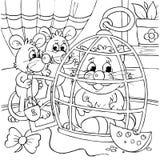 Souris et chat se reposant dans une cage Photos libres de droits