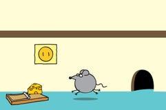 Souris et fromage heureux sur une trappe Image stock