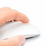 Souris et main blanches Photographie stock libre de droits