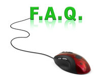 Souris et mot FAQ d'ordinateur Photographie stock libre de droits
