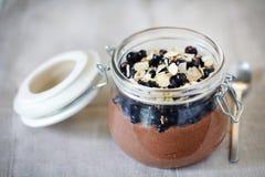 Souris gluten-gratuite de chocolat faite de myrtilles et noisettes Image stock