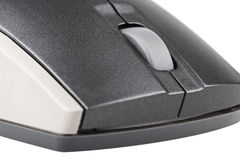 Souris grise d'ordinateur sur le plan rapproché blanc de fond Photographie stock