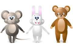 Souris, lapin, ours Photographie stock