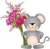 Souris mignonne avec des fleurs Images libres de droits