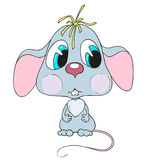 Souris mignonne de personnage de dessin animé Petite souris triste Images libres de droits