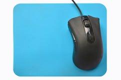 Souris noire de rouleau sur la protection bleue Photos libres de droits