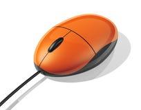 Souris orange d'ordinateur Images libres de droits