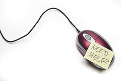 Souris pour l'ordinateur avec la note collante d'isolement Images libres de droits