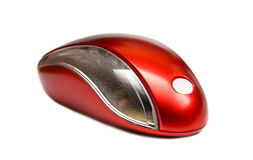 Souris rouge d'ordinateur d'isolement Photographie stock