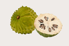 Soursop. Isolated on white background Stock Photos