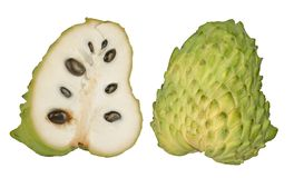 Soursop sections isolated on white royalty free stock photography