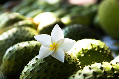 Soursop and tiare flower Royalty Free Stock Photography