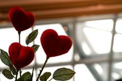 Sous-exposez le coeur rouge d'amour sur le pot, le doux et le mignon, concept de valentines Photographie stock