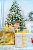 Sous l'arbre de Noël Photo stock