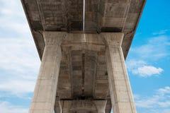 Sous l'autoroute urbaine avec le ciel Image stock