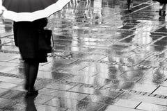 Sous le parapluie brouillé Photos stock
