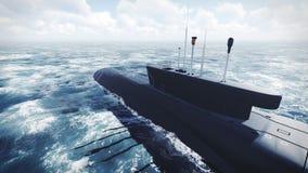 Sous-marin de classe de Borei de Russe à l'eau du nord image libre de droits