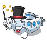 Sous-marin de plongée de magicien en mer de mascotte illustration de vecteur