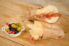 Sous-marin espagnol de jambon et de fromage Images stock