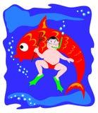 Sous-marin et poissons Photo stock