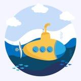 Sous-marin jaune illustration de vecteur