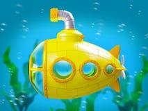Sous-marin jaune de bande dessinée sous l'eau Photo stock