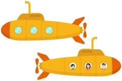 Sous-marin jaune Deux sous-marins jaunes de bande dessinée illustration de vecteur