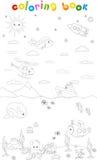 Sous-marin, mer, ciel et monde de l'espace Livre de coloration illustration stock