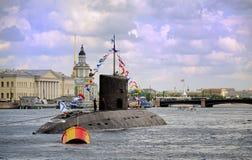 Sous-marin sur la rivière Neva Russia Photographie stock libre de droits