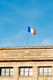 Sous-prefecture and Flag of France waving Stock Images