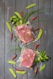 Sous Vide варя концепцию Ингредиенты вакуума наполненные аранжированные на деревянной покрашенной предпосылке стоковое изображение