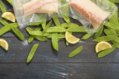 Sous Vide cooking concept. Vacuum packed ingredients arranged on wooden dyed background. stock photography